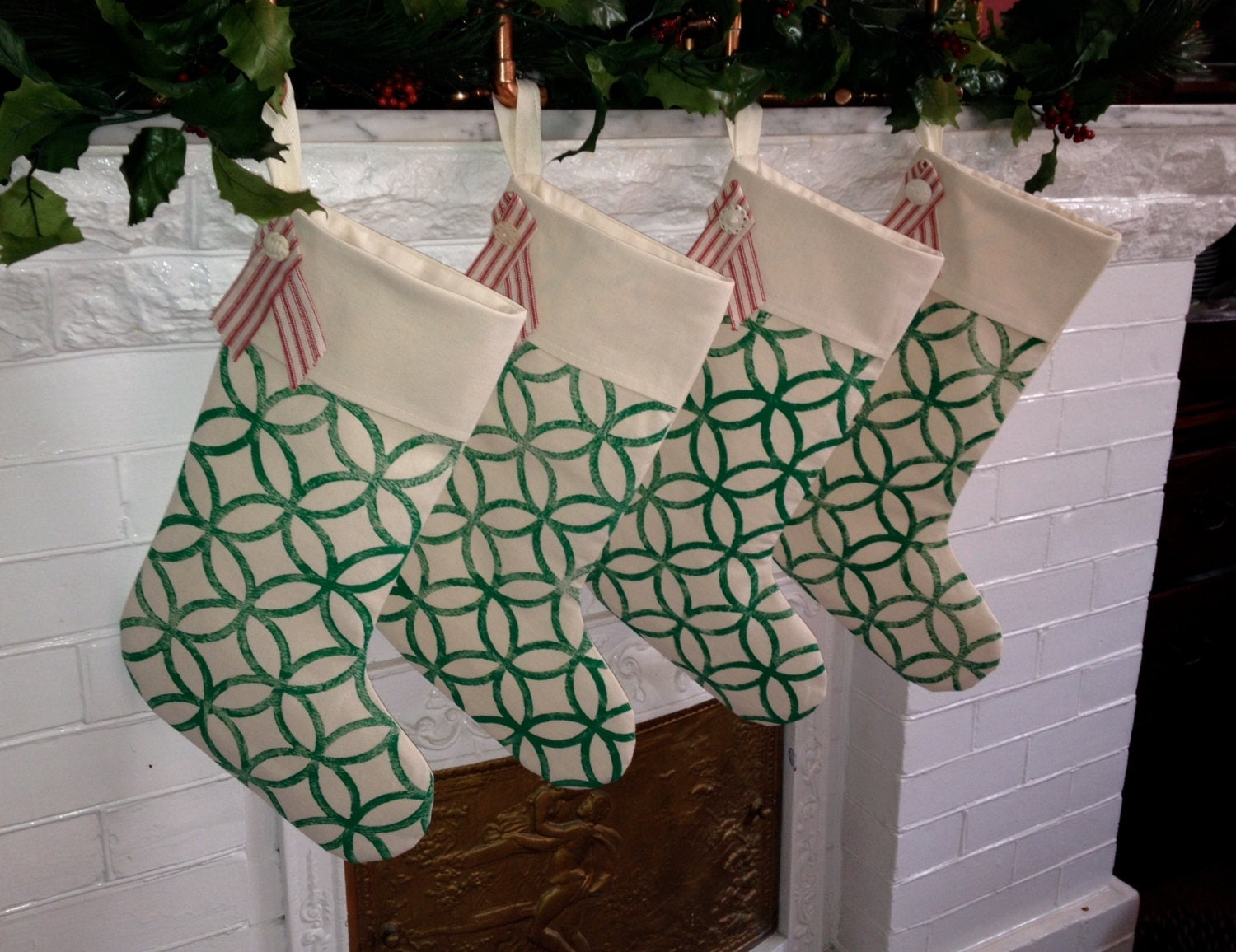 Stylish Handprinted Christmas Stocking - Modern Graphic Pattern on Cotton Canvas, Cottage Chic Holiday Decor  Holiday Stocking - MacAndLexie
