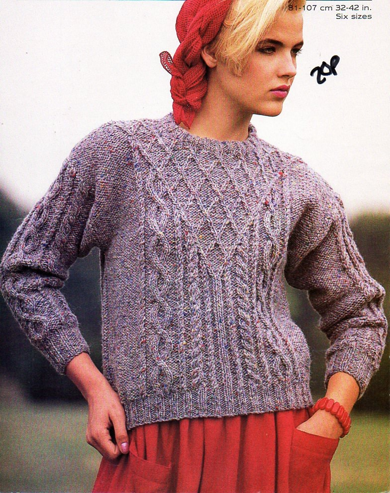 womens aran sweater knitting pattern PDF chunky ladies cable jumper round neck 3242 chunky bulky 12ply Instant Download