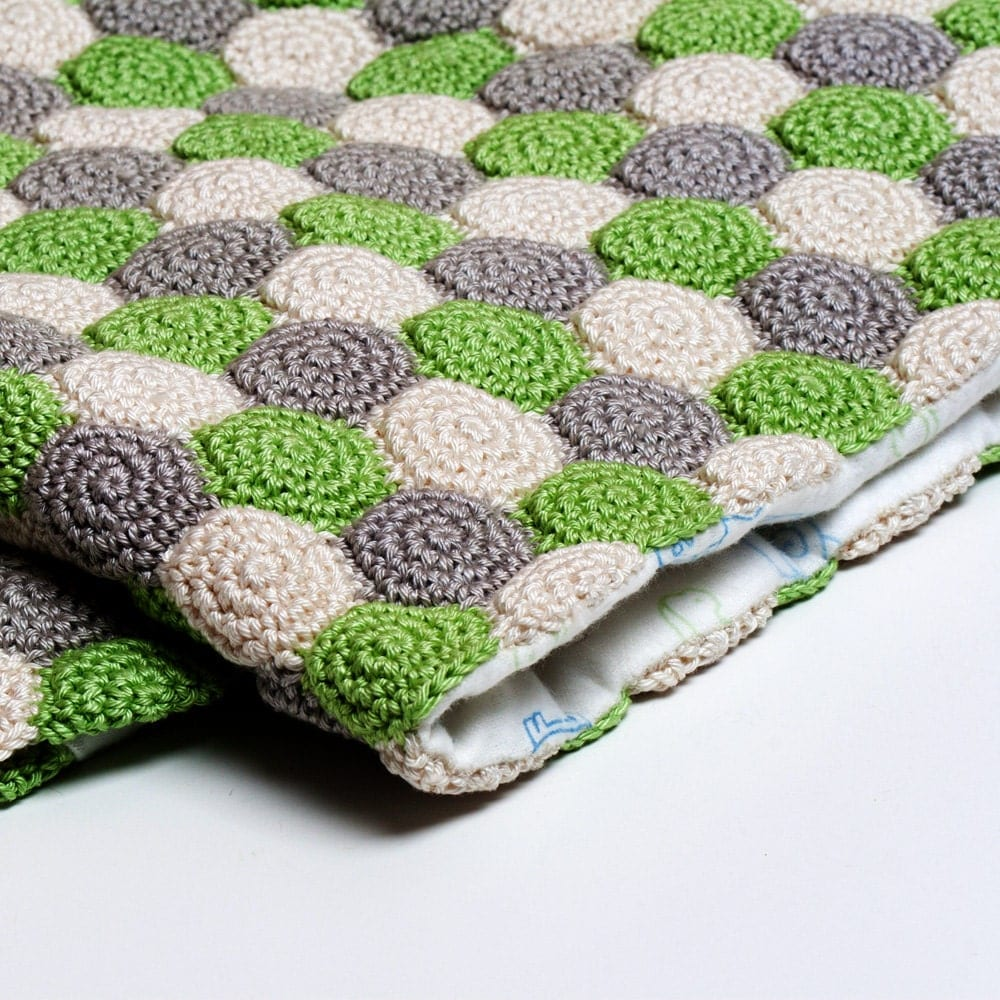 Crochet Pattern Unisex Reversible Baby Blanket PDF Instant Download