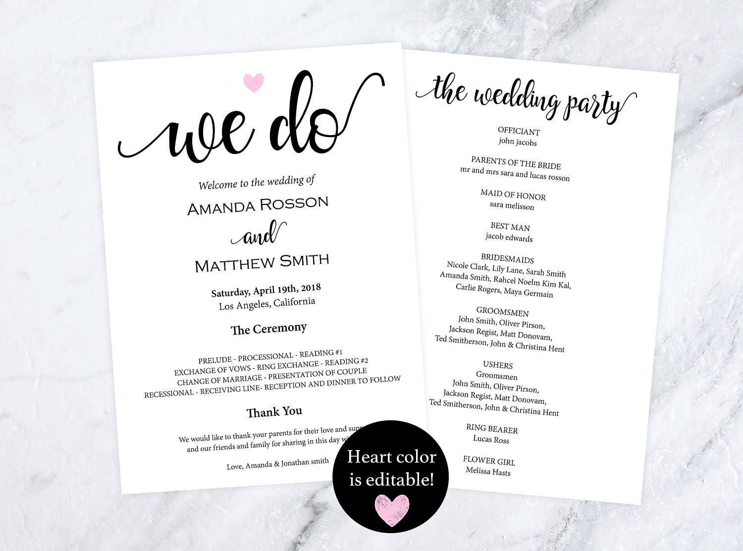 Rustic wedding programs instant download  editable heart color  we do wedding programs  wedding ceremony program template WDH812104