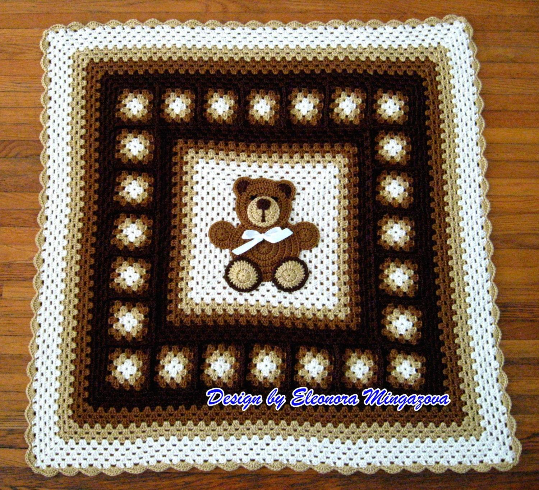 Плед с мишкой крючком филейное вязание