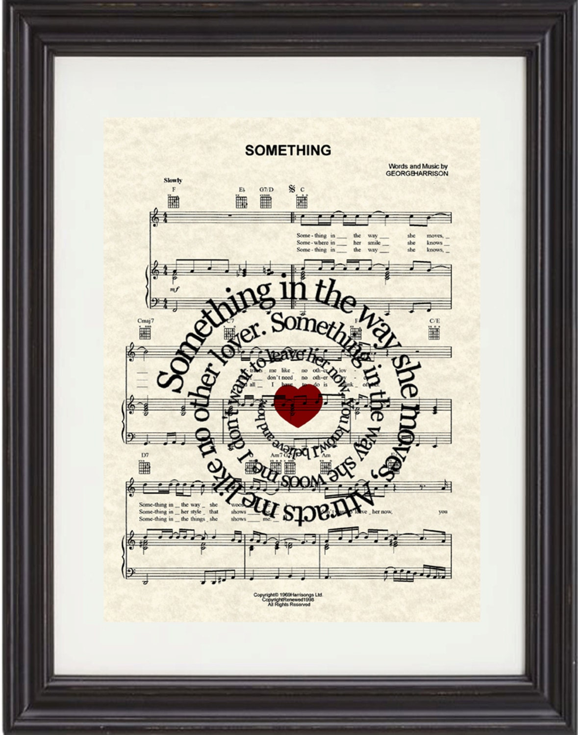 Something Song Lyric Art Print,- The Beatles, Sheet Music Print - TexasGirlDesigns