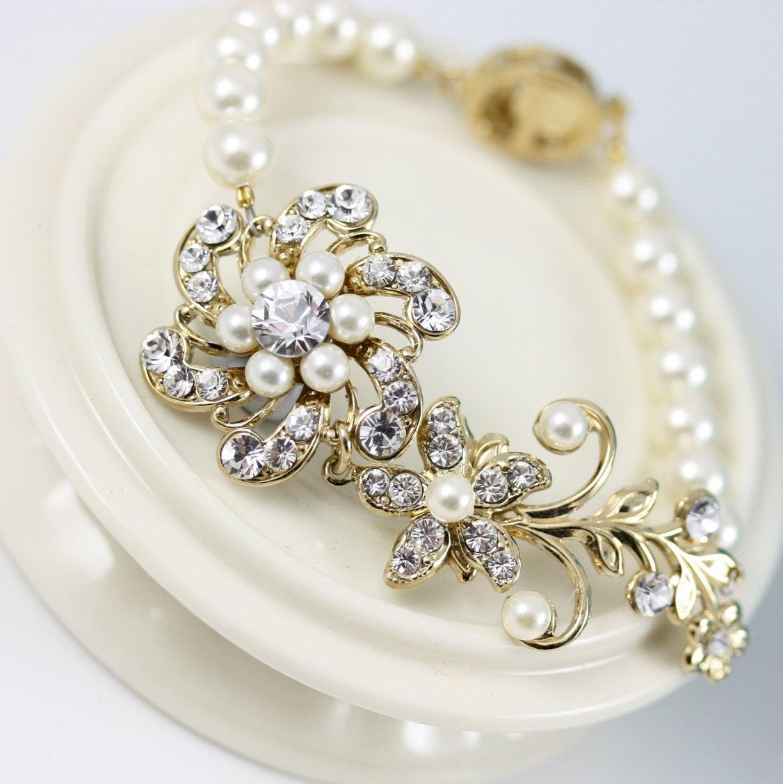 Bridal Bracelet, Gold Wedding Jewelry, Pearl Bracelet , Swarovski Rhinestone Flower Bracelet ,  SABINE FINE