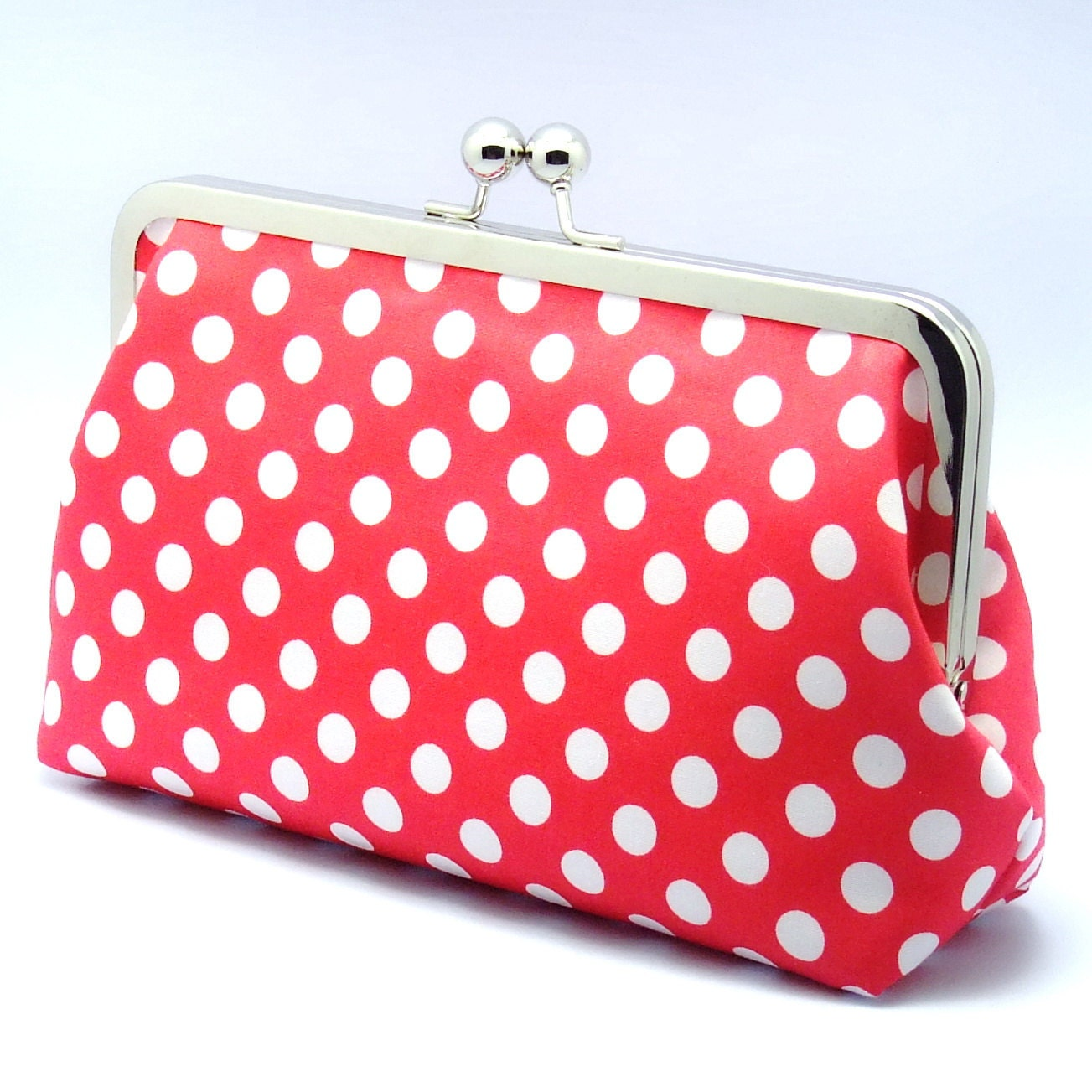 White Polka Dots in Red- Large Clutch Purse (L-040)