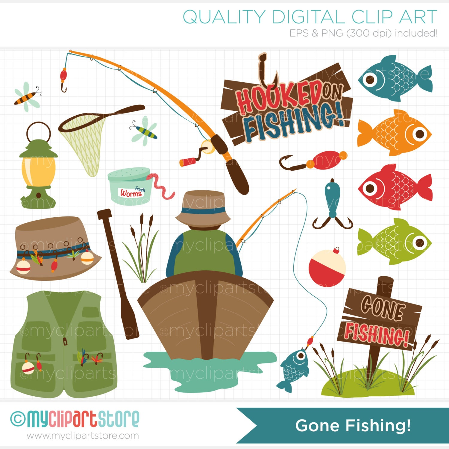 Father's Day / Gone Fishing Clip Art / Digital by MyClipArtStore
