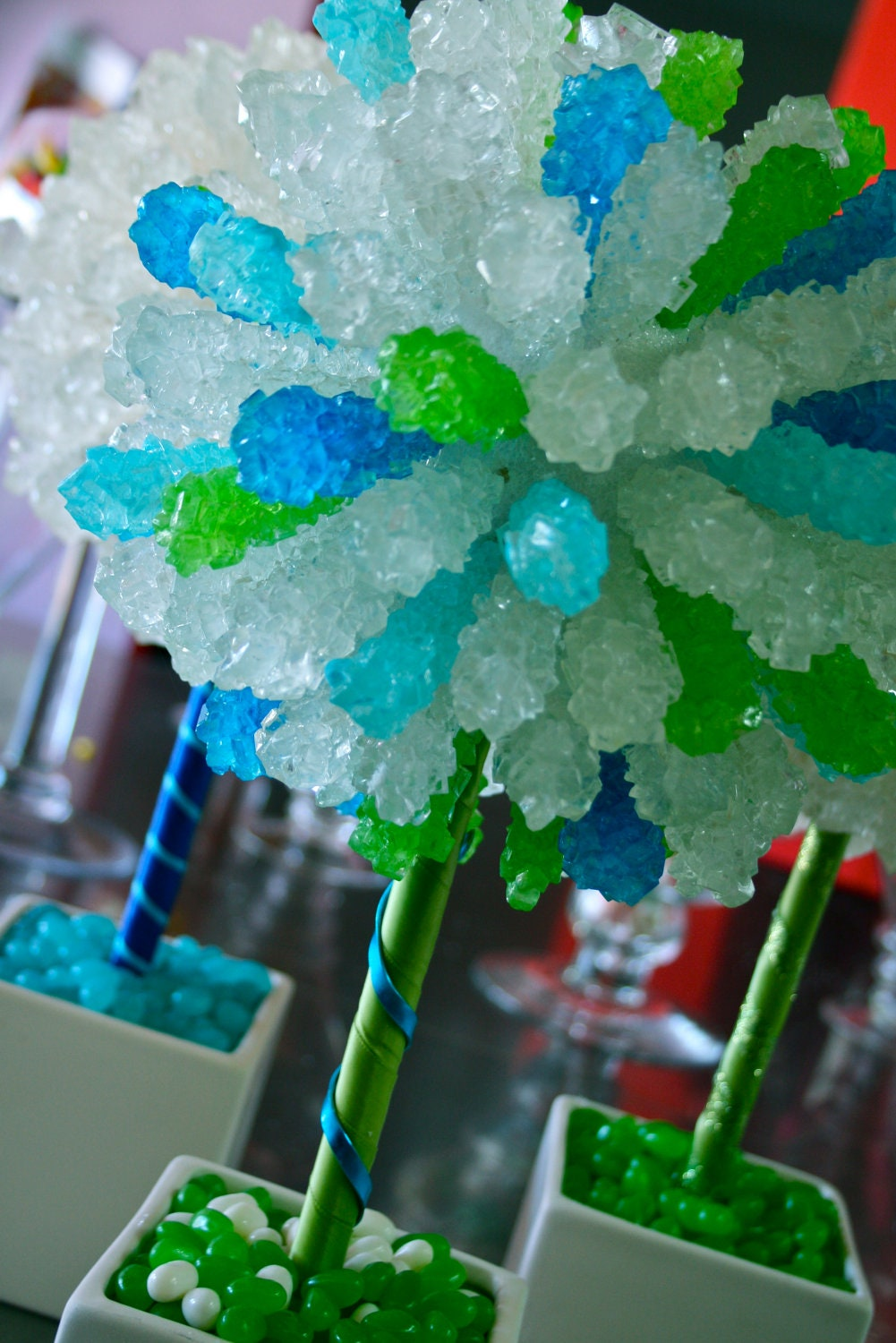 Green blue rock candy centerpiece topiary by