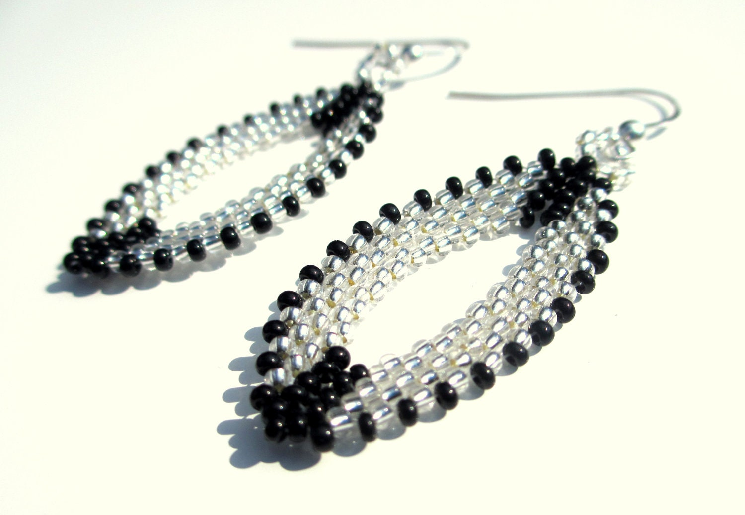 Handcrafted Beaded Earrings in Black and Silver with S.S. Ear Wire- Made to Order - creationsbymarci