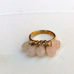 Wire Wrapped Rings Rose Quartz  Adjustable Ring