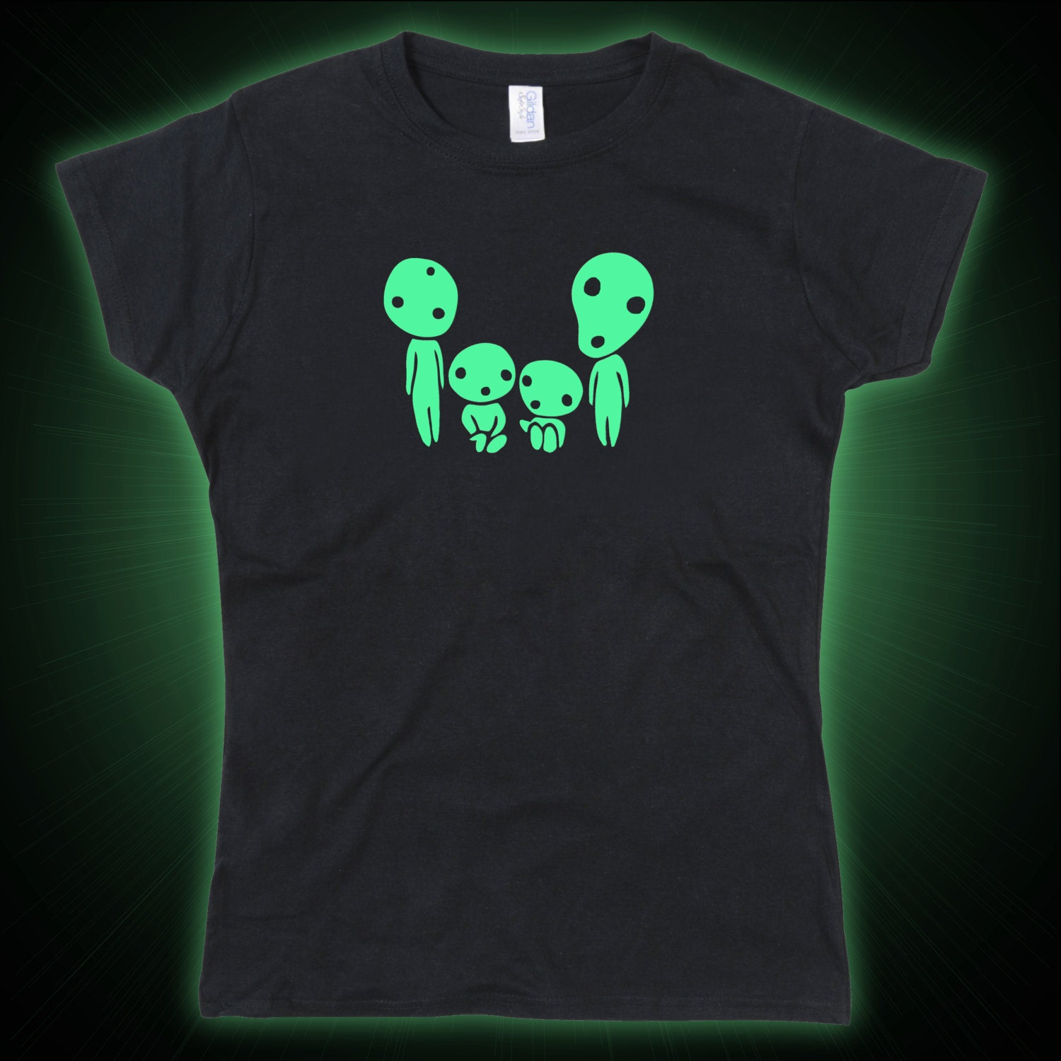 Ladies Kodama Family Mononoke Inspired Forest Spirits Glow in the Dark Tshirt