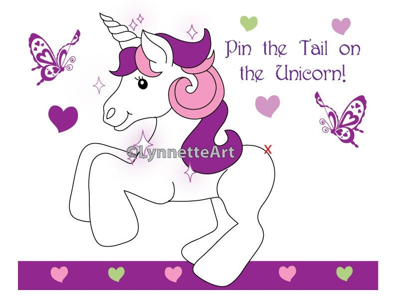 It is an image of Invaluable Pin the Tail on the Unicorn Printable