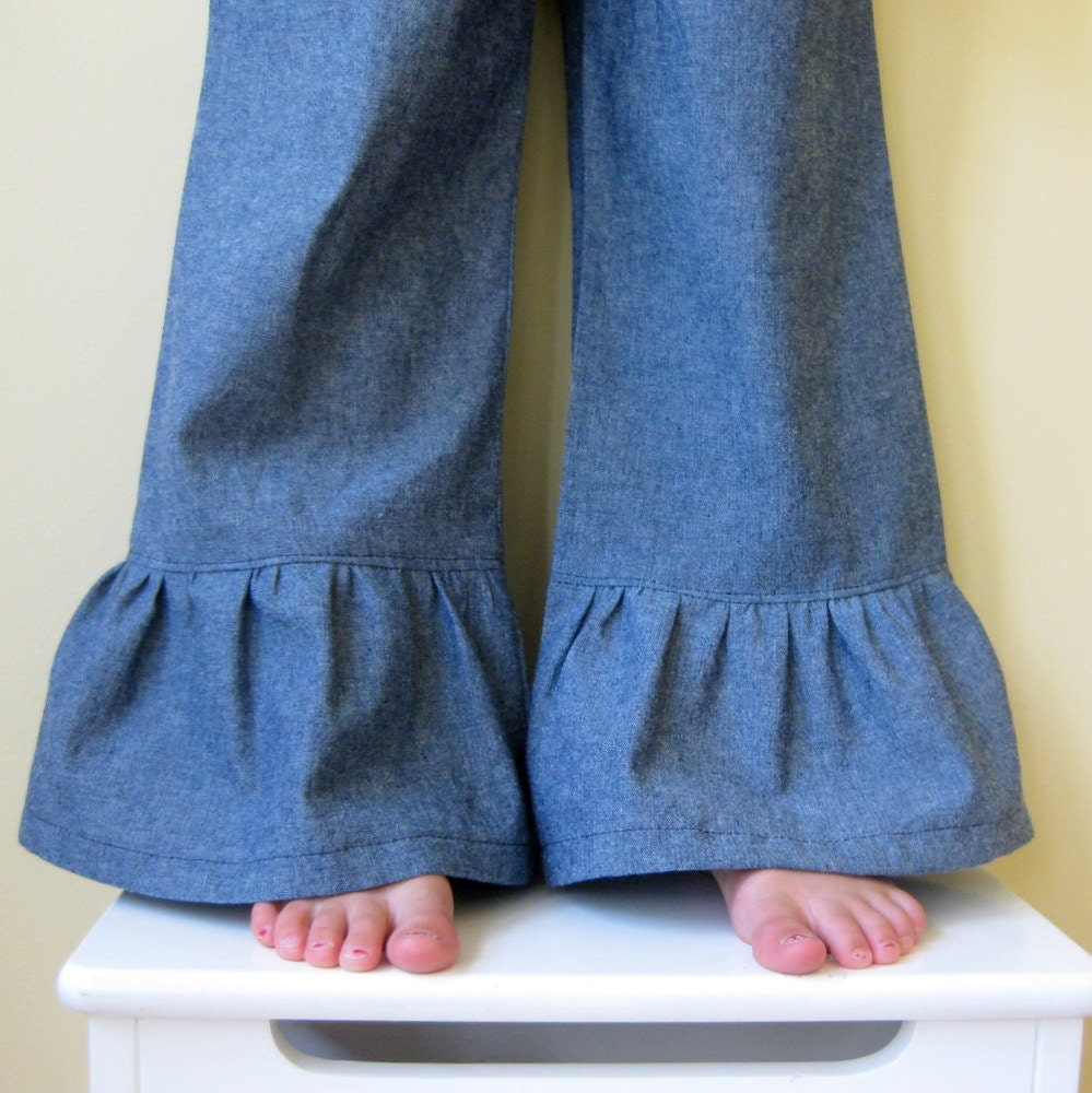 Girls Ruffle Pants . Chambray Denim . Photography Session - CorinneCitrolo