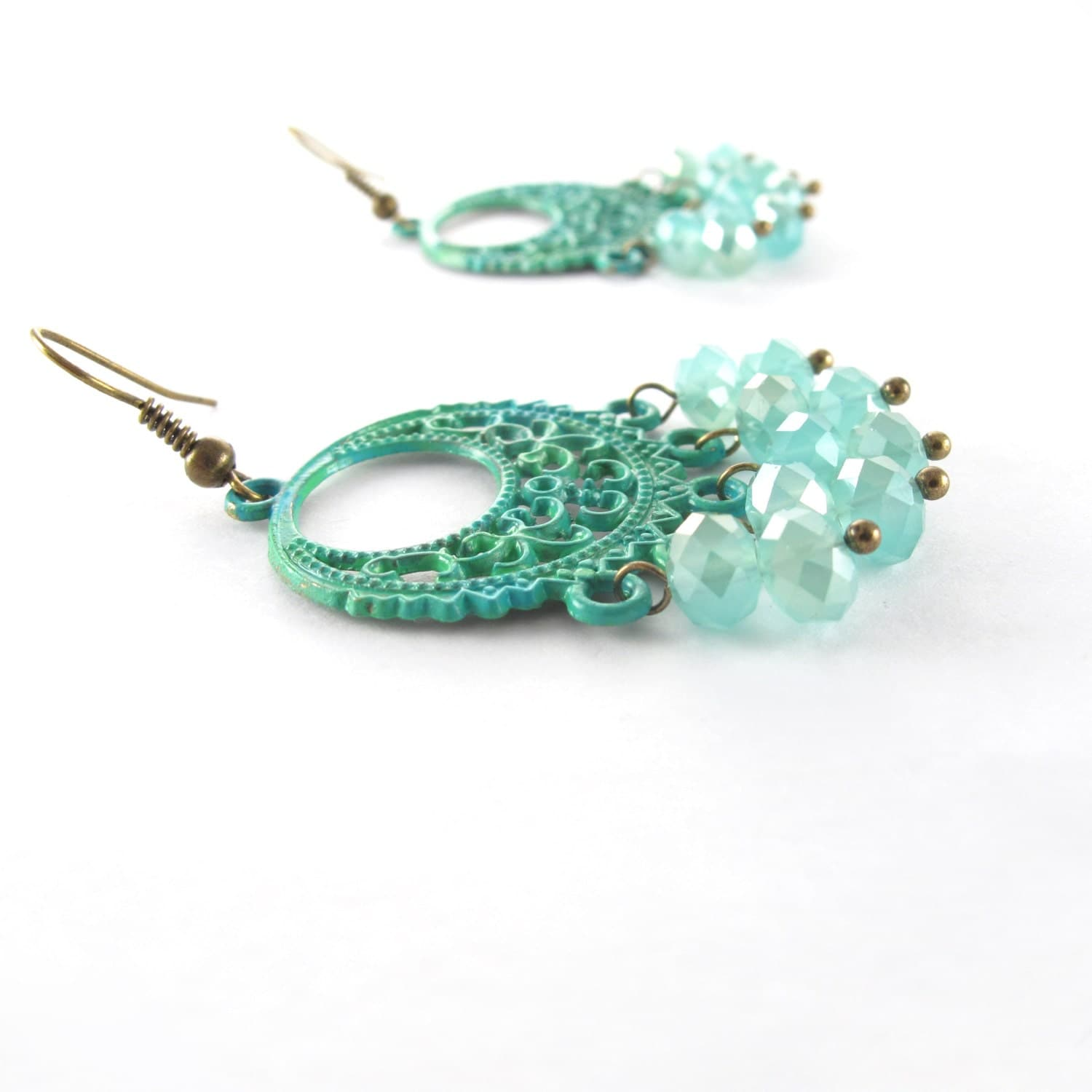 Green & Aqua Boho Chandelier Earrings, Hand Painted - MoonlightShimmer