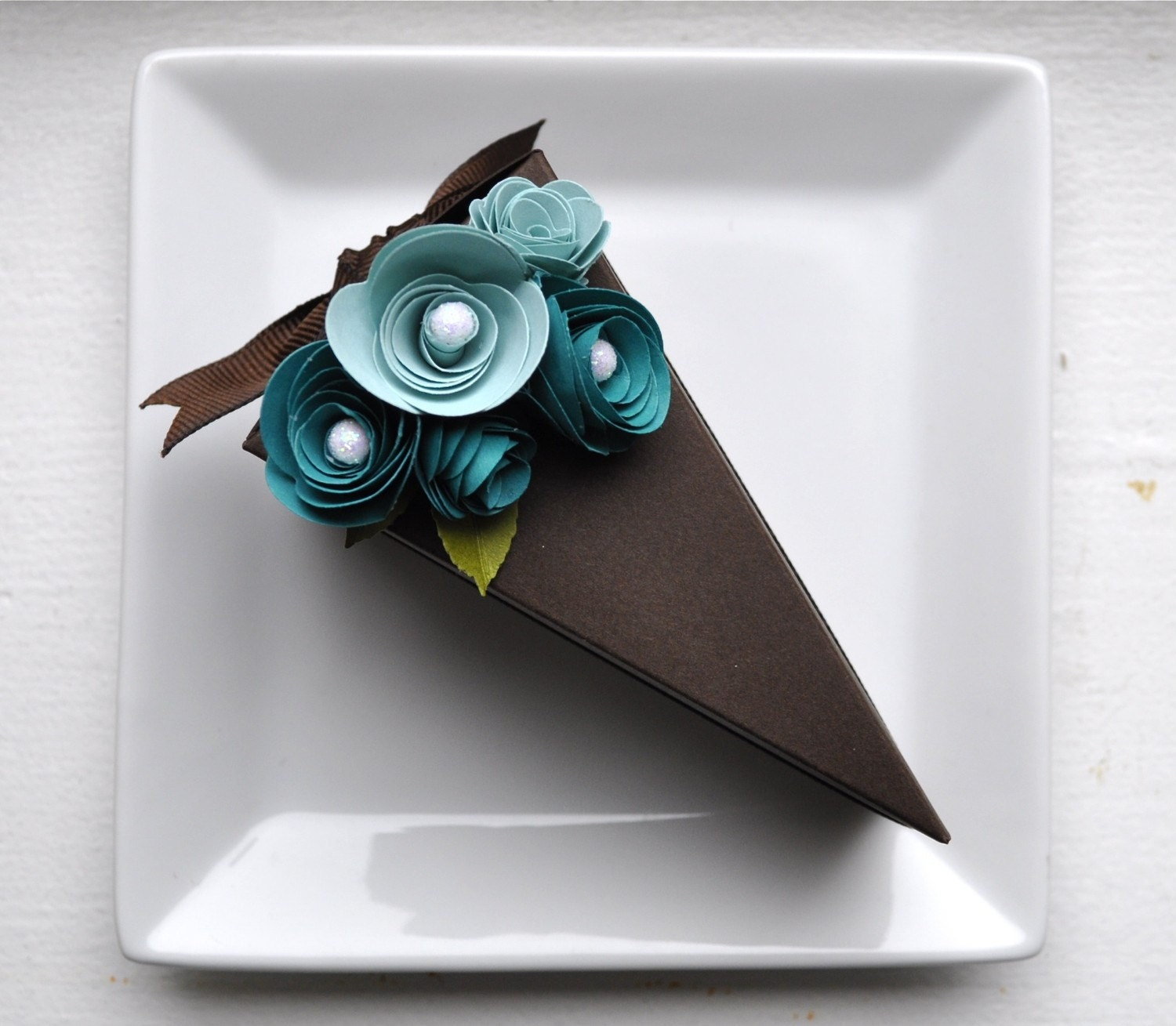 Reserved listing PAPER Chocolate cake slice favor by