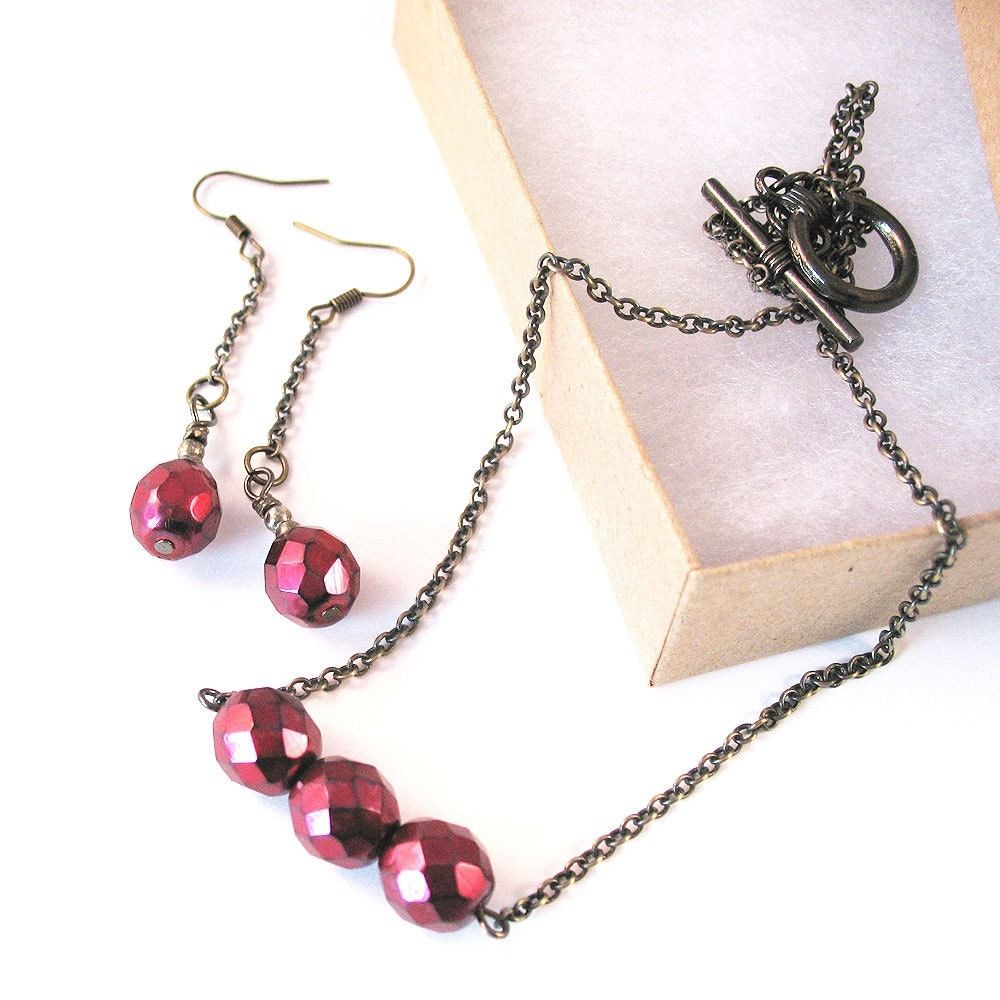 Ruby Red Necklace and Earring Set - Red Czech Glass - Bright Cherry - pulpsushi
