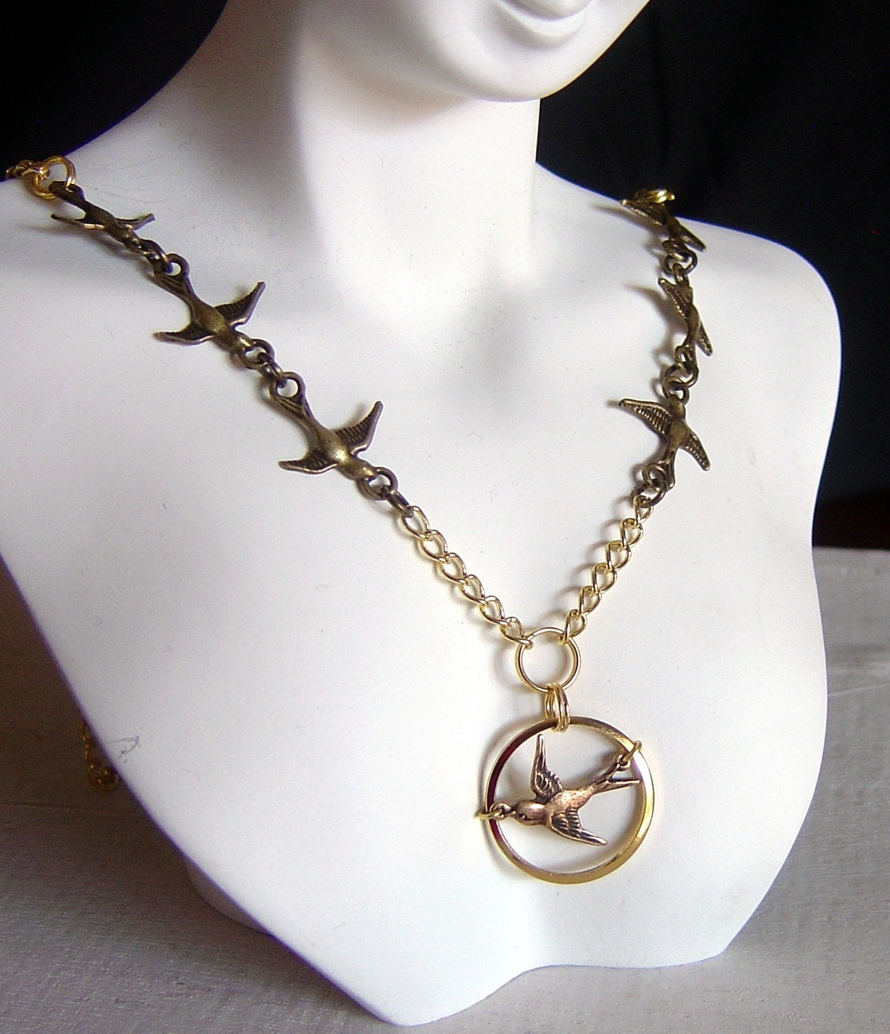 mockingjay pendant necklace by ang549 on etsy