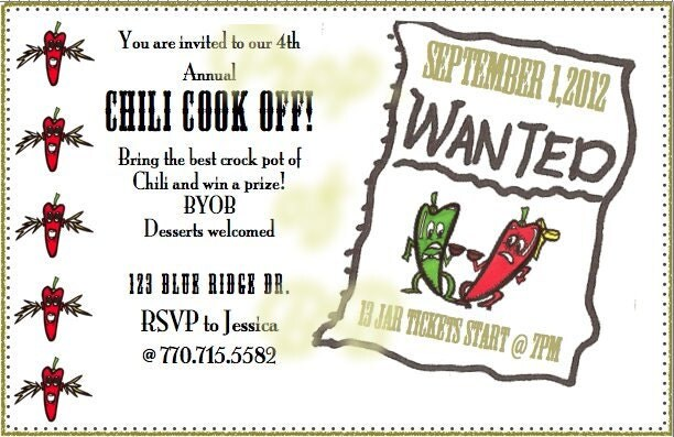 Printable Invitation For Chili Cookoff Party Invitations