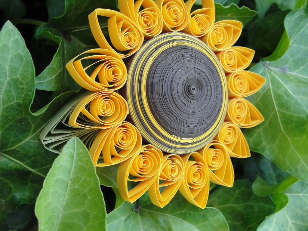 Unique Handmade Paper Quilled Sunflower Trinket Box