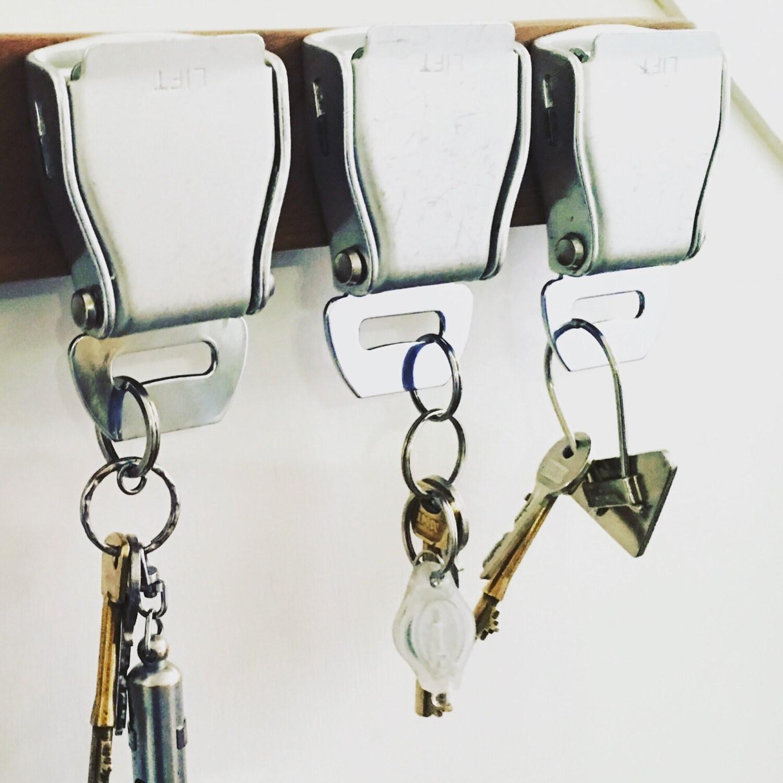 Upcycled Aircraft seatbelt keyhooks key holder key clips key safewall mounted key rack  holder