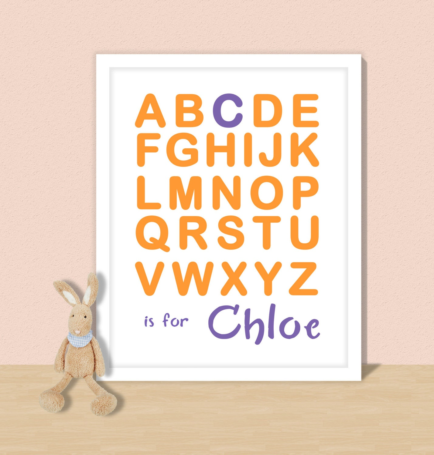 Nursery name wall art  alphabet print  customised baby letters for wall  letter J  nersery decor  baby name letters  alphabet letter