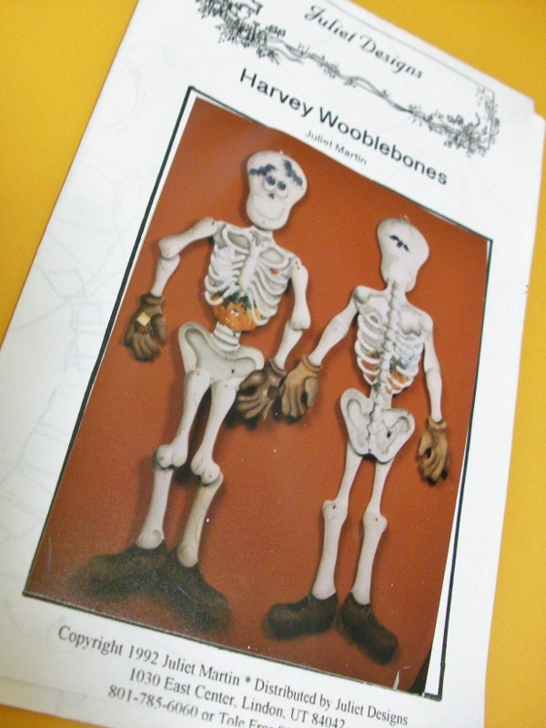 Vintage 1992 Skeleton Painting Pattern by Juliet Martin, Harvey Wooblebones