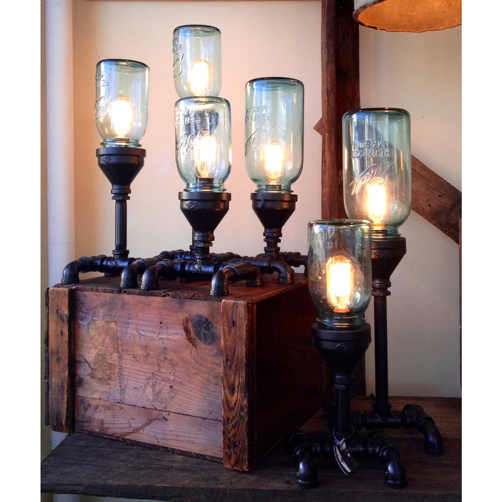 Items similar to mason jar gas pipe steampunk lamp on etsy for Gas pipe lamp