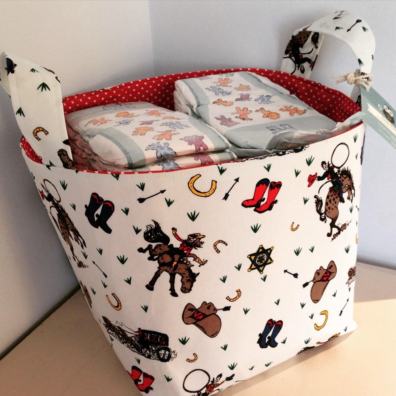Cowboys Fabric Basket  Nappy Basket Diaper Caddy Nursery Storage Playroom Toy Storage Nursery Decor