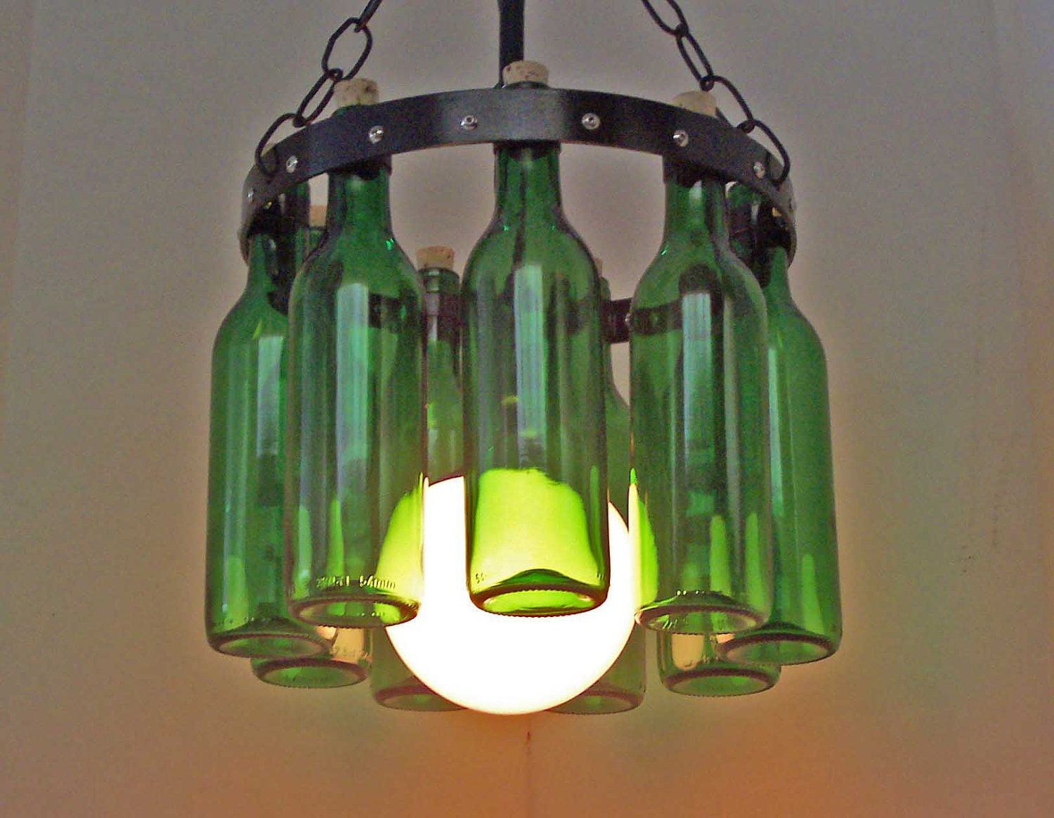 Items similar to petite wine bottle chandelier emerald for How to make your own wine bottle chandelier