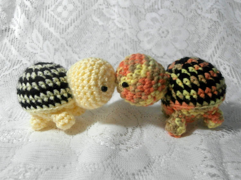 Tiny Crochet Turtles  Handmade Animal Knit Stuffed Soft Plushie  Cute Yellow Black Orange Mini Pretend Play Bead Eye Turtle Wildlife Toy