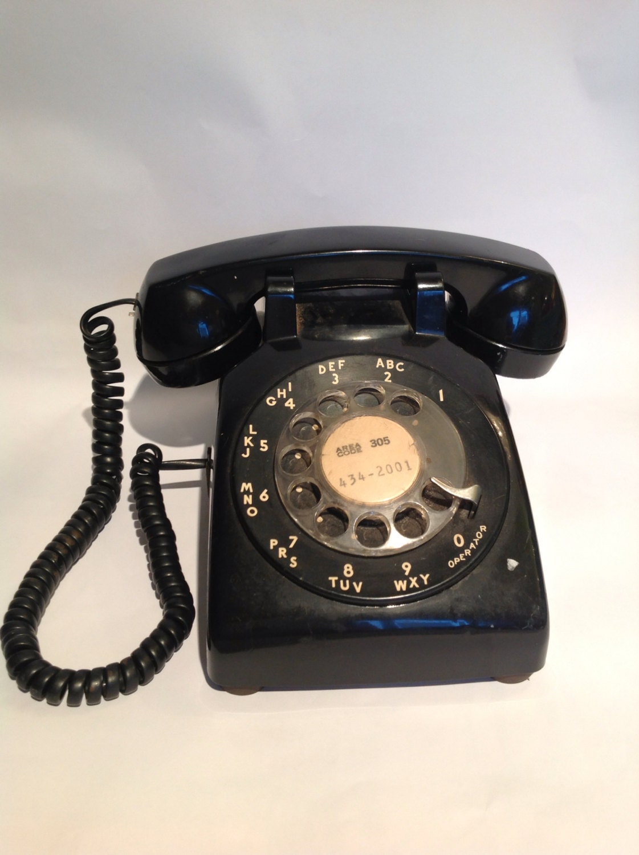 vintage black rotary phone retro telephone by allisonkapner. Black Bedroom Furniture Sets. Home Design Ideas