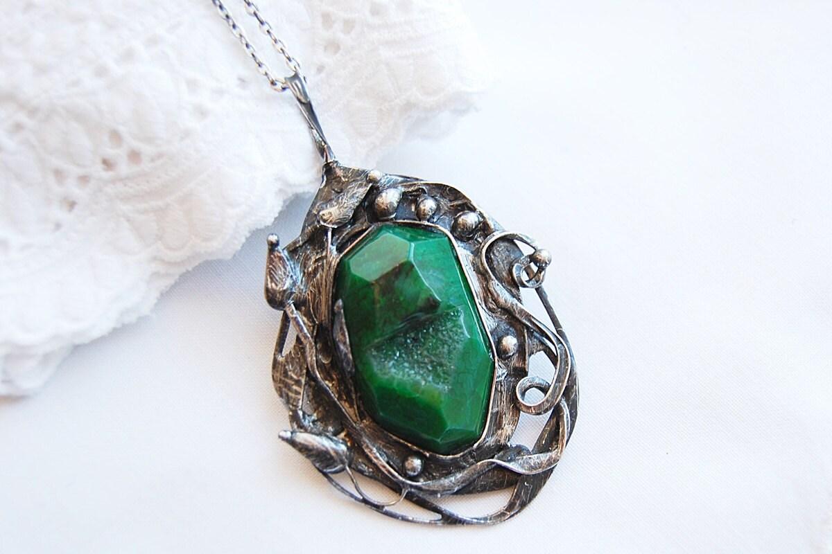 Big large druzy geode Agate slice stone birthstone big large crystal choker pendant necklace - vertverre