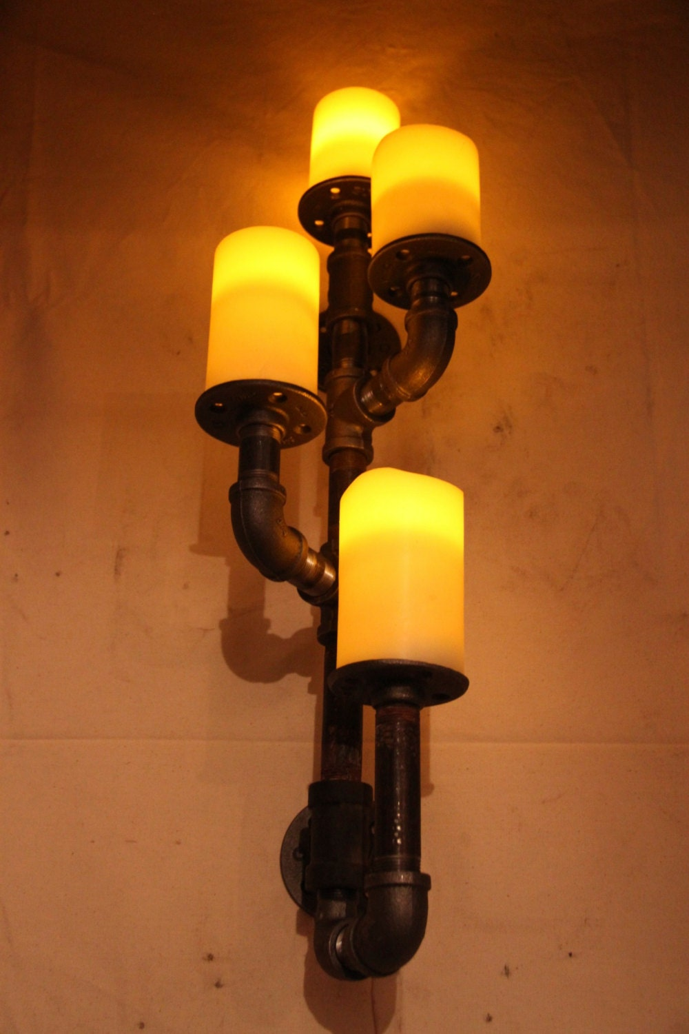 Industrial Candle Wall Sconces : Industrial pipe candle holder wall sconce by DutchMommaDesigns