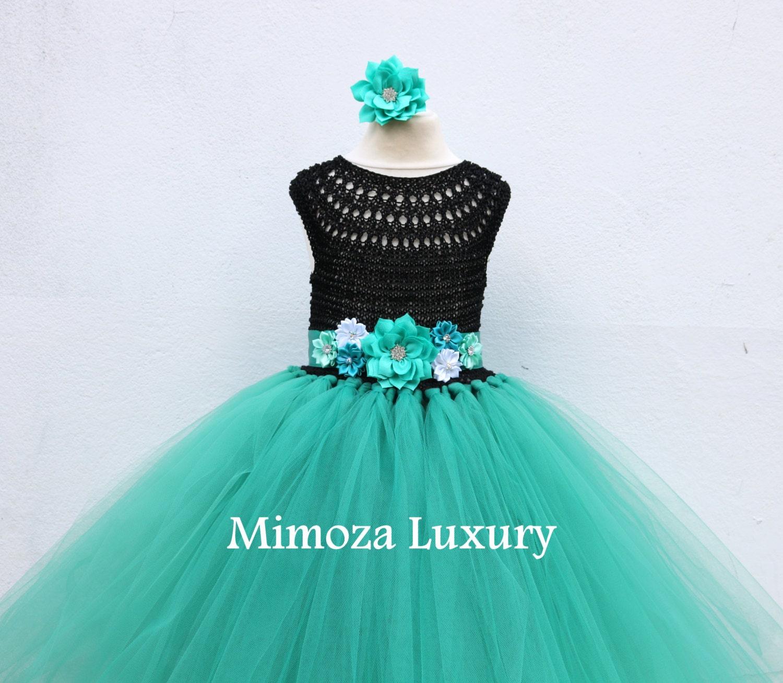 Flower girl dress tutu dress bridesmaid dress princess dress crochet top tulle dress hand knit top tutu dress teal sea green tutu