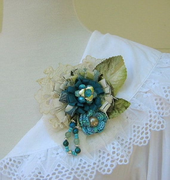 Flower Pin, Brooch, Corsage in Turquoise and Teal