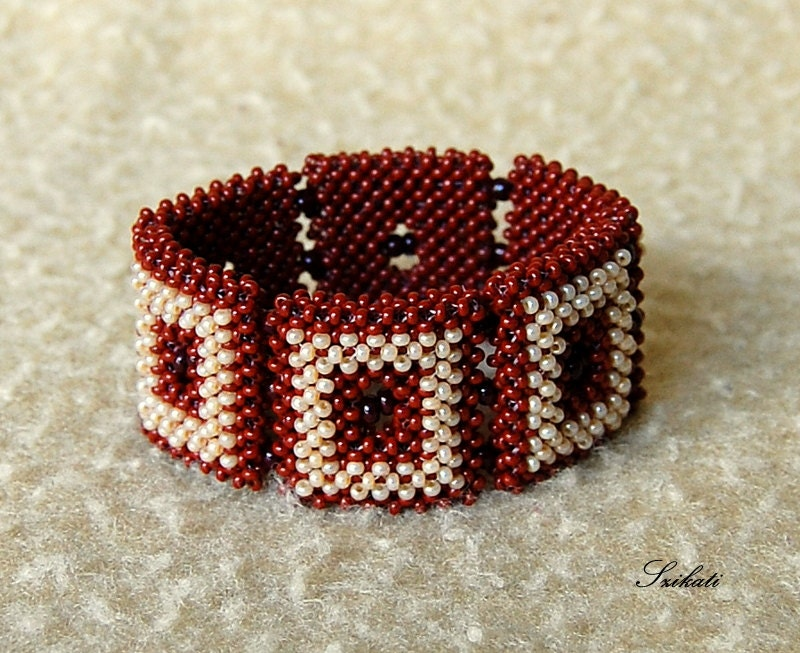 Beaded beige brown bracelet, autumn colors, fall fashion, OOAK
