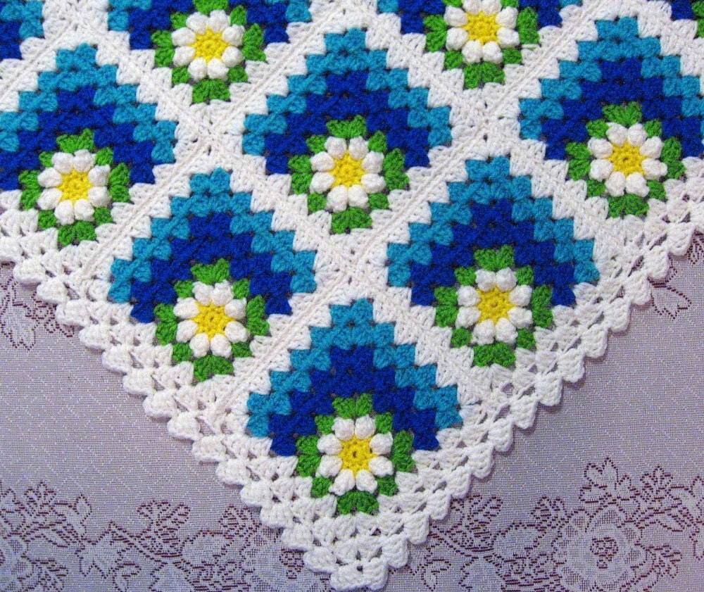 Crochet Pattern For Summer Baby Blanket : PDF Pattern Crocheted Baby Afghan Mitered by ...