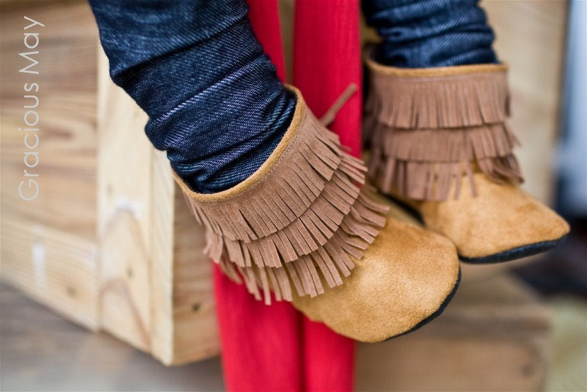 Caramel suede moccasin boots- boys Fall Winter