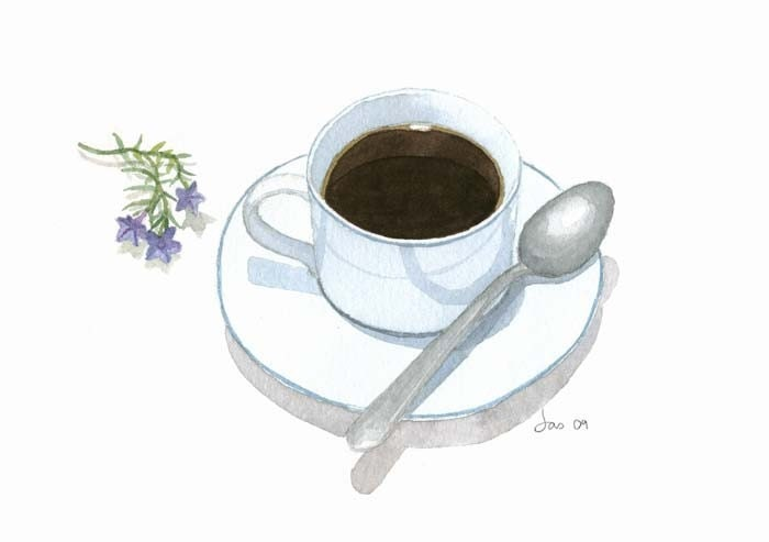 Items similar to cup of coffee watercolor 10x8 print on etsy for Coffee watercolor