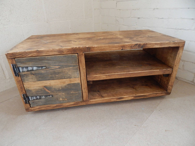 TV Media Unit Stand Industrial Rustic Handmade Reclaimed Wood