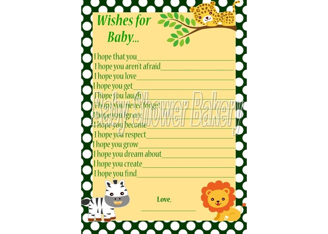 Baby Shower Game, Wishes for Baby, Jungle Theme Baby Shower Game, Baby ...