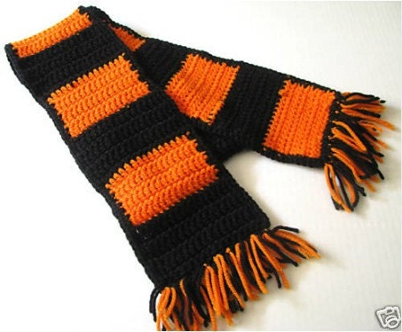 items similar to crochet scarf orange and black