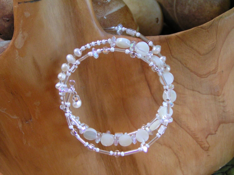 Bridal Freshwater Pearl Handmade Bracelet - BedazzledbyDebi