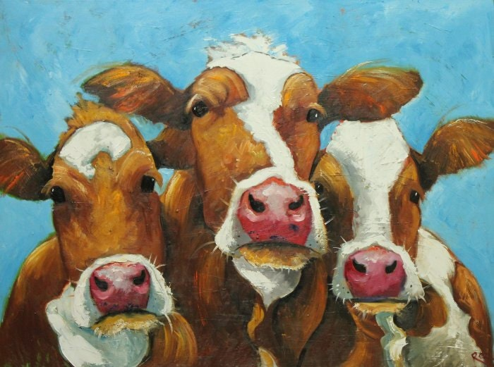 Cows painting animals 462  30x40 inch original portrait oil painting by Roz