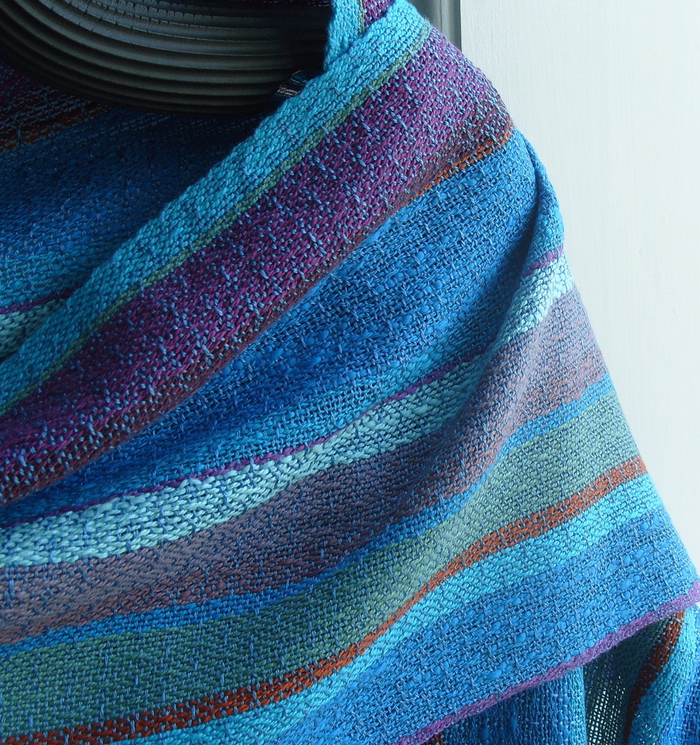 Handwoven Shawl, Woven Scarf, Wrap, Ocean Storm... - barefootweaver