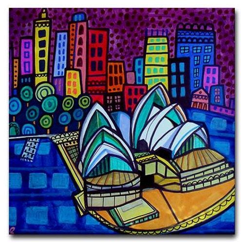 40% OFF  - Sydney Australia Art Tiles - - Ceramic Tile Art - City Print Art Modern Abstract Print on Coaster - Wedding Gifts - HeatherGallerArt
