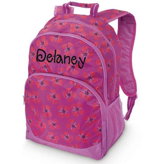 Girls Personalized Backpack Floral Monogrammed School Bookbag