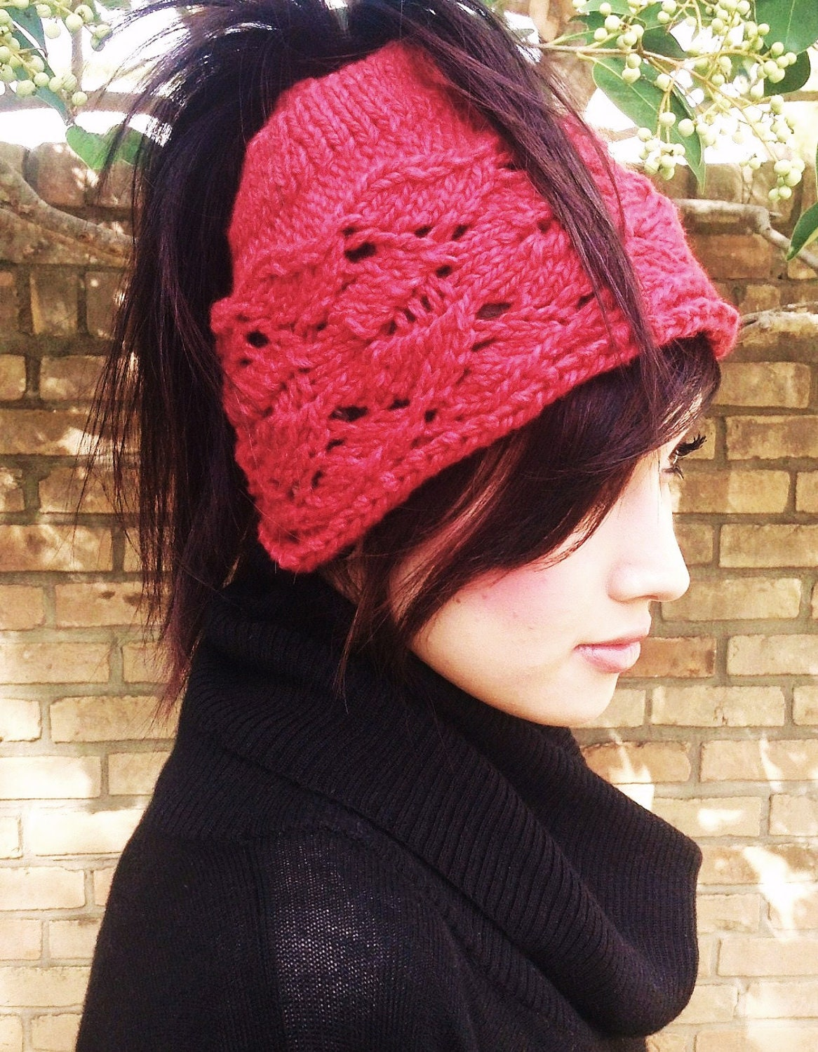 Knitting Pattern Ponytail Hat : knit ponytail hat on Etsy, a global handmade and vintage marketplace.