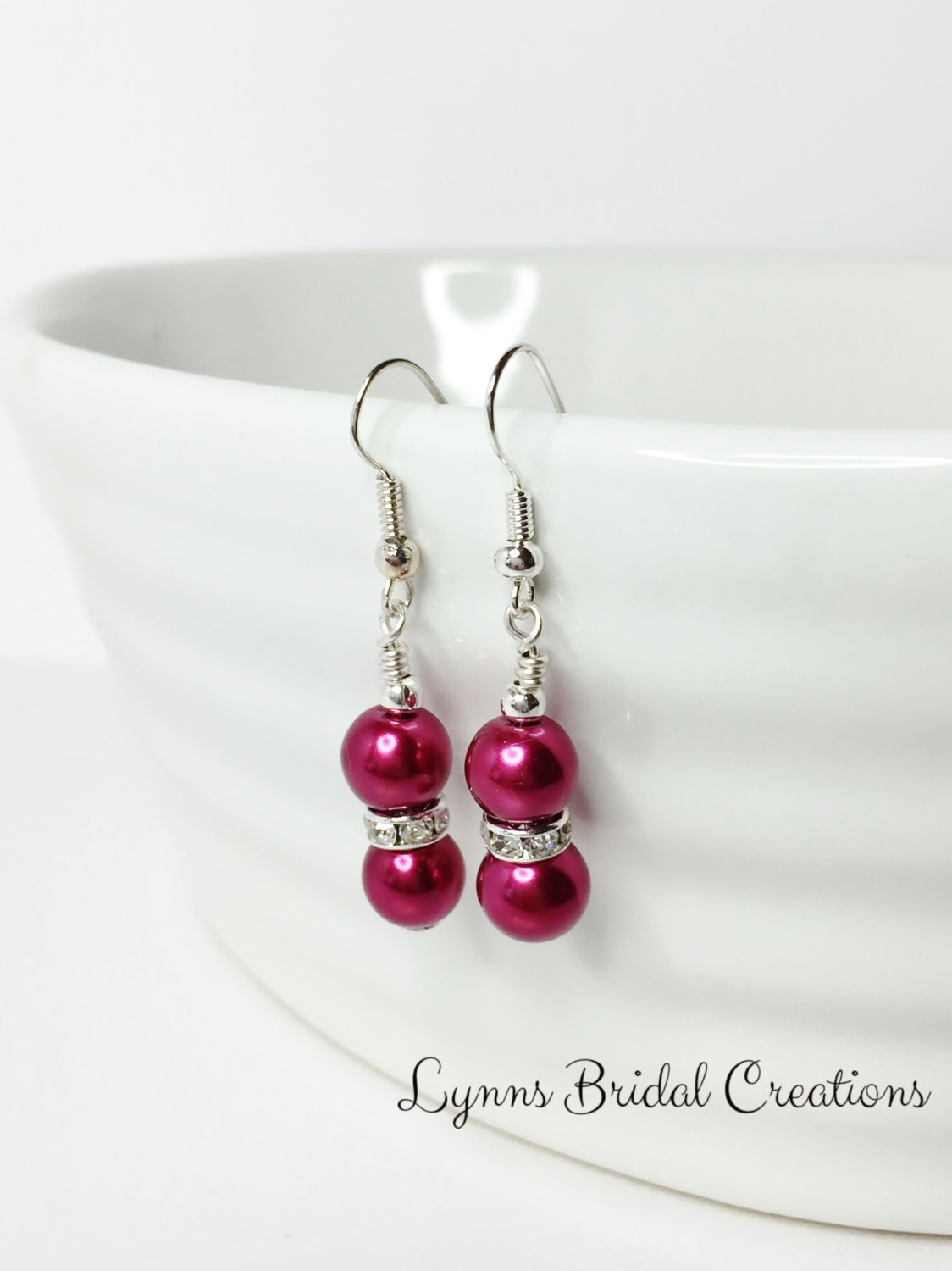 Red  Bridesmaid Earrings Pearl Earring Wedding Jewelry Red Drop Earrings Wedding Gift Bridesmaid Gift Mother of the Bride Flower Girl Gift