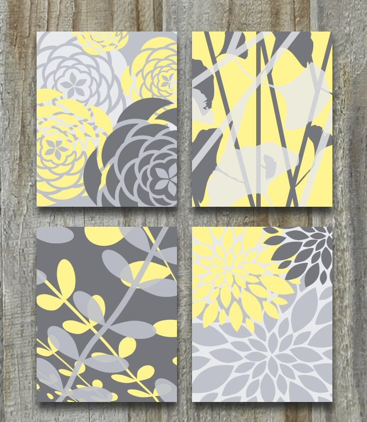 Canvas Art Home Decor Yellow Gray Gallery Set OR Match Colors Custom