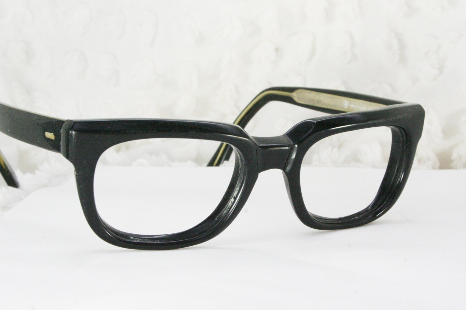 Big Thick Frame Glasses : Vintage 60s Mens Glasses 1950s Black Eyeglasses by DIAeyewear