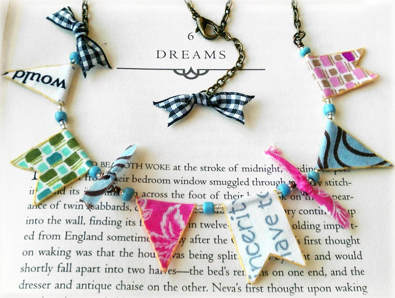 OOAK 'Whimsy Bunting' Fabric  Flags Necklace, Pennant, Shabby, Adorable, Unique Pastels, Antique Bronze, Gingham Ribbon Bows, One of a Kind - OddModicum